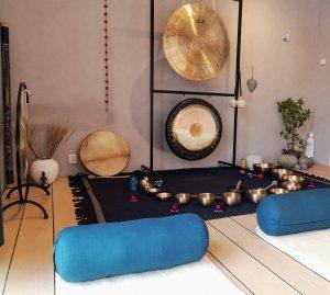 gong klangskålar villa mare yogamatta